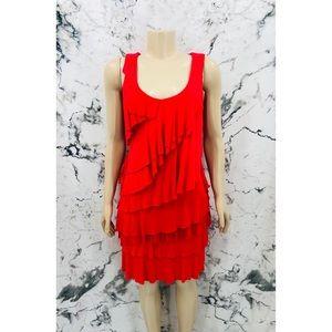 Calvin Klein Layered Ruffled Sleeveless Midi Dress